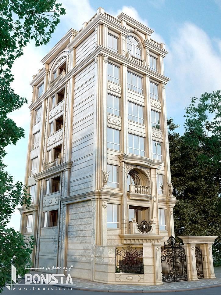 طراحی نما و سردر ورودی ساختمان مسکونی اهورا توسط گروه معماری و طراحی داخلی بنیستا