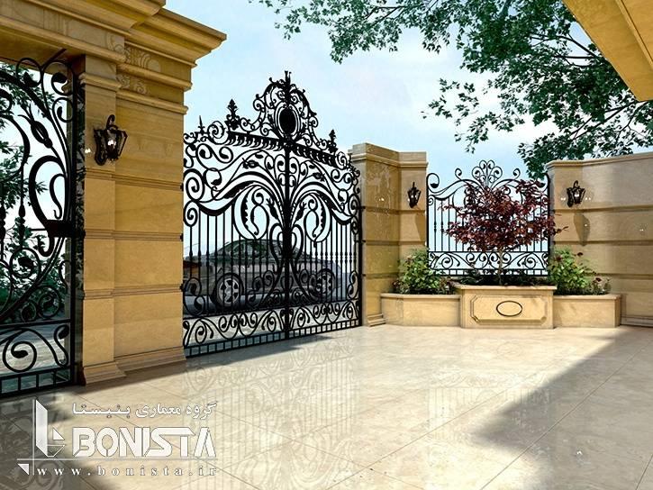 طراحی حیاط و سردر ورودی ساختمان مسکونی اهورا توسط گروه معماری و طراحی داخلی بنیستا